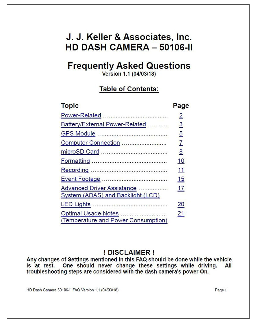 J. J. Keller HD Dash Cam FAQs