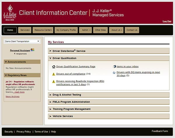Client Info Center Homepage