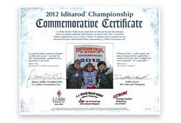 2012 Championship Commemorative Certificate
