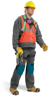 Man Wearing Reflective Apparel, Safety Equipment and more!